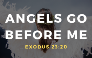 "An angel with it's back to us and the words ""Angels Go Before Me."" Exodus 23:20"