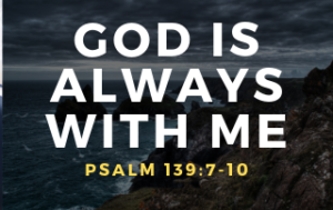 "The waves are crashing on a remote beach with the heading ""God is Always With Me."""