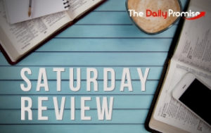 Saturday Review - Books and Bibles on a blue stripped background
