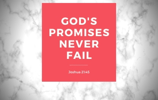 God's Promises Never Fail - Joshua 21:45 Red on a white marble background