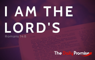I AM the Lord's - Romans 14:8 on a red background