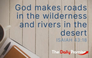 God Makes roads in the wilderness and rivers in the desert - Isaiah 43:18
